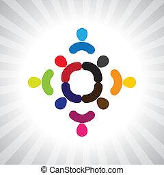kleurrijke, eenvoudig, abstract, kinderen, grap, vector, spelend, circle-
