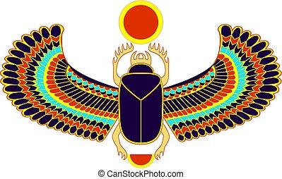 kleurrijke, egyptisch, symbool, scarab, sun., heilig, insect