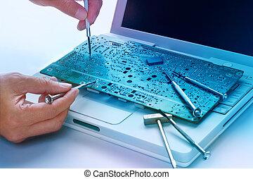 kleurrijke, elektronische plank, en, gereedschap, verstelt,...