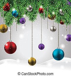 kleurrijke, en, het fonkelen, kerst decoraties