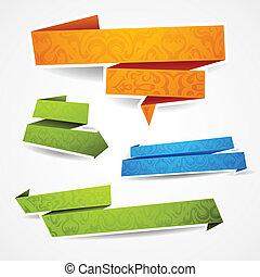 kleurrijke, en, verfraaide, papier, banieren, voor, jouw,...