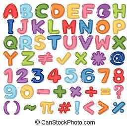 kleurrijke, engelse , alfabet, en, getal