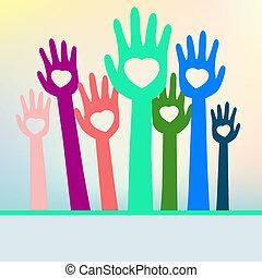 kleurrijke, eps, space., handen, 8, kopie, hartelijk