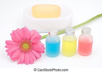 kleurrijke, essentiële olie, en, bloem