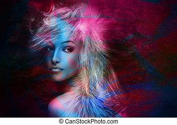 kleurrijke, fantasie, beauty