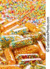 kleurrijke, farmaceutisch, capsules