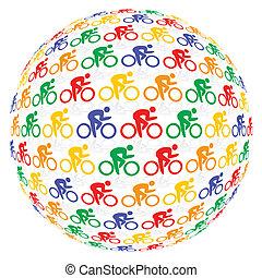 kleurrijke, fietsers