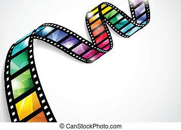 kleurrijke, film, stroken