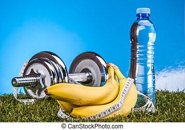 kleurrijke, fitness, samenstelling