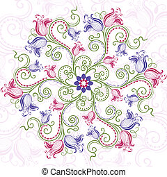 kleurrijke, floral, ronde, frame