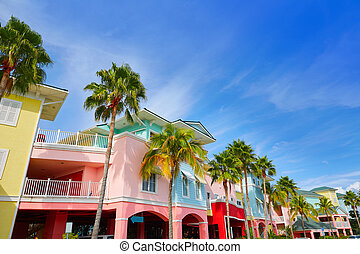 kleurrijke, florida, facades, palmbomen, myers, fort
