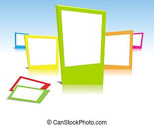 kleurrijke, foto lijst in, in, vector, kunst