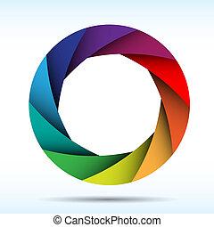 kleurrijke, fototoestel, illustratie, eps10, sluiter, achtergrond