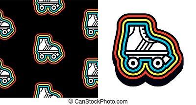 kleurrijke, frame, schaatsen, tachtig, rol, pictogram