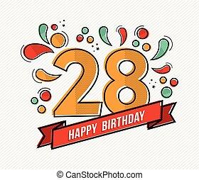 kleurrijke, gelukkige verjaardag, getal, 28, vlake lijn, ontwerp