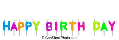 kleurrijke, gelukkige verjaardag, kaarsjes, op wit, achtergrond