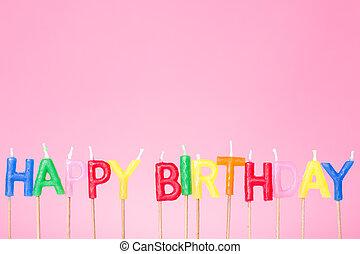 kleurrijke, gelukkige verjaardag, kaarsjes