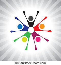 kleurrijke, gemeenschap, maatjes, ook, spelend, plezier, vibrant, eenvoudig, friendship-, hebben, vector, kinderen, vieren, graphic., groenteblik, bijeenkomst, opgewekte, geitjes, illustratie, mensen, weergeven, dit