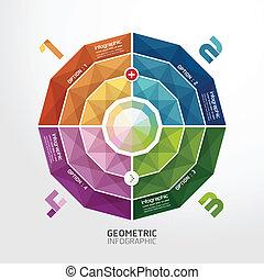 /, kleurrijke, genummerde, zijn, geometrisch, banieren, infographics, gebruikt, groenteblik, ontwerp, moderne