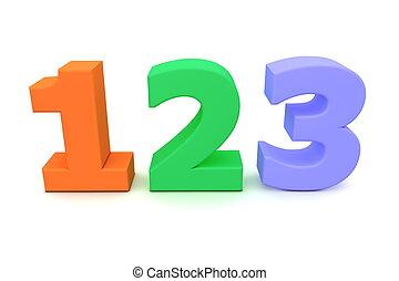 kleurrijke, getallen, 123