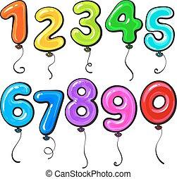 kleurrijke, gevormd, getal, helder, glanzend, ballons