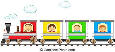 kleurrijke, gezin, trein, in, spoorweg