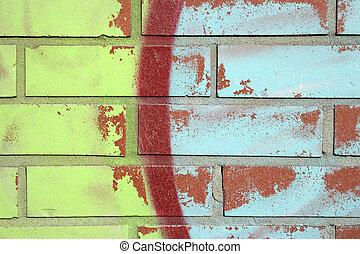 kleurrijke, graffiti, op, een, baksteen muur