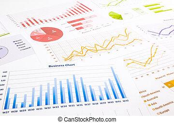kleurrijke, grafieken, diagrammen, marketing onderzoek, en, zakelijk, jaarlijks