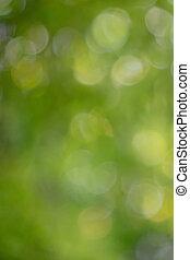 kleurrijke, groene, natuurlijke , benevelde achtergrond, met, bokeh, effect.