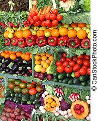 kleurrijke, groentes, en, vruchten