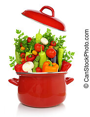 kleurrijke, groentes, het koken, vrijstaand, achtergrond, ...