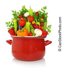 kleurrijke, groentes, het koken, vrijstaand, achtergrond, witte , pot, rood