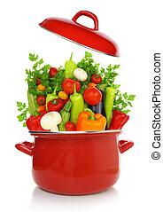 kleurrijke, groentes, in, een, rood, kokende pot,...