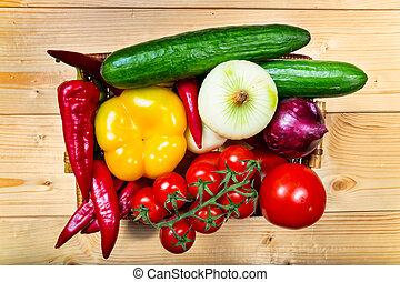 kleurrijke, groentes, op, rauwe, gevarieerd, mand, afsluiten