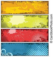 kleurrijke, grunge, vector, banieren