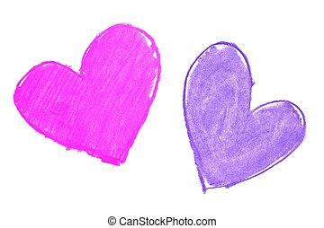 kleurrijke, hand, geverfde, hart formeert, trekken
