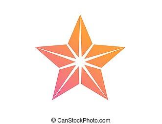 kleurrijke, helling, roze, om te, sinaasappel, bespreken, ster, pictogram