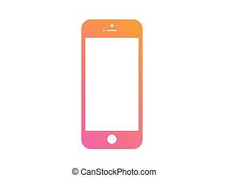 kleurrijke, helling, roze, om te, sinaasappel, plat, beweeglijk, smart, het pictogram van de telefoon