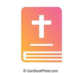 kleurrijke, helling, vrijstaand, schitteren, gouden, heilige bijbel, boek, pictogram