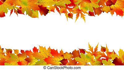 kleurrijke, herfst, grens, gemaakt, van, leaves., eps, 8