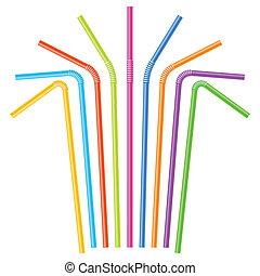 kleurrijke, het drinken stro