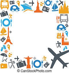 kleurrijke, het reizen, en, vervoer, iconen