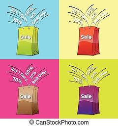 kleurrijke, het winkelen zakken