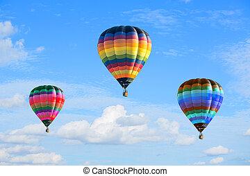 kleurrijke, hete luchtballons, op, de, blauwe hemel