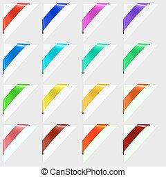 kleurrijke, hoeken, tekens