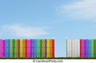 kleurrijke, houten hek, met, open poort