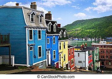 kleurrijke, huisen, in, straat., john\'s