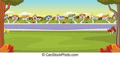 kleurrijke, huisen, in, voorstad, neighborhood.