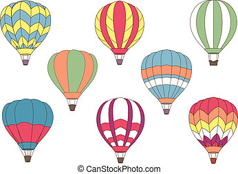 kleurrijke, iconen, balloon, vliegen, lucht, warme