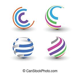 kleurrijke, iconen, element